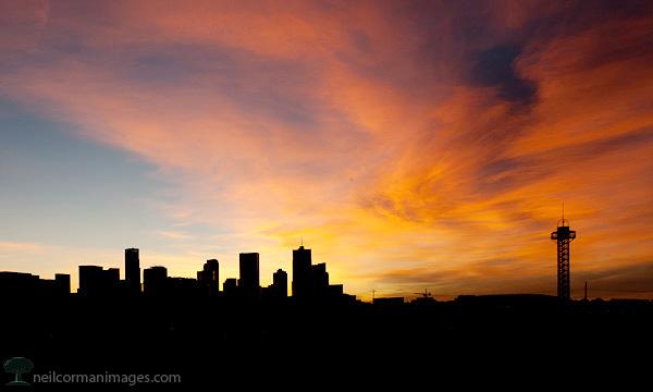 Sunrise over Denver on New Years Day